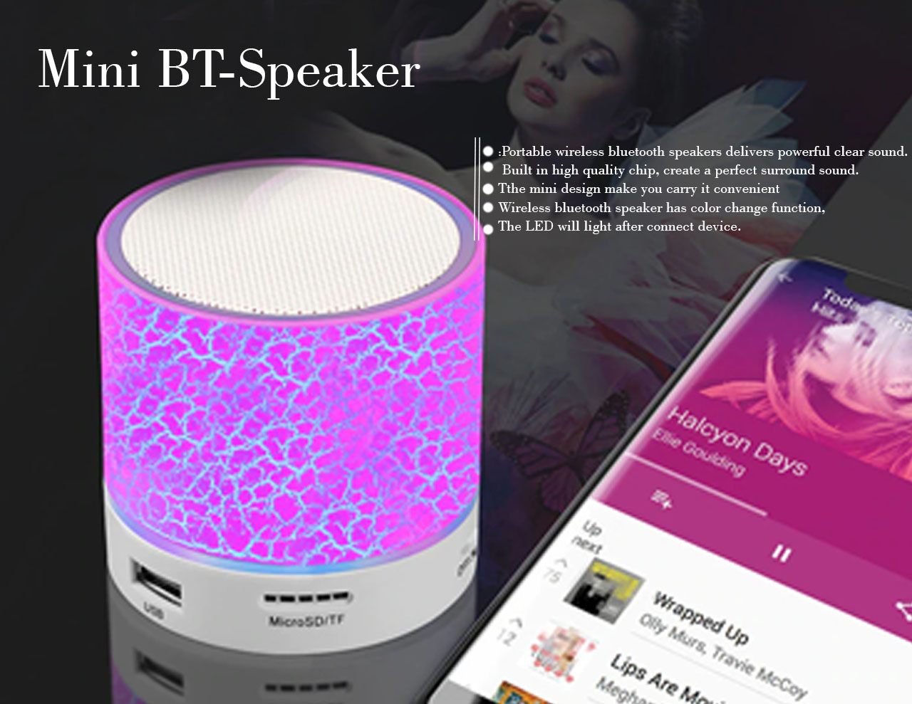 Mini multicolor bt speaker