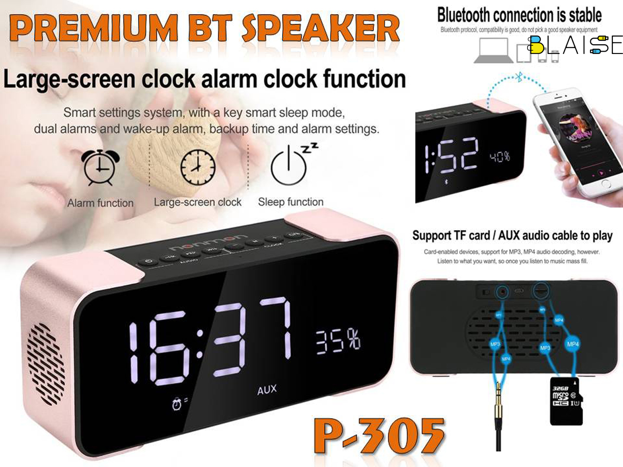 PTH-305 speaker with clock
